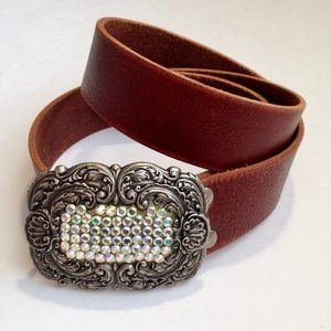 Fossil| brown leather silver jeweled buckle belt